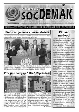 noviny č.1 - MO ČSSD Klášterec nad Ohří