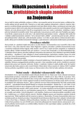 Působení proti státních skupin zemědělců na Znojemsku