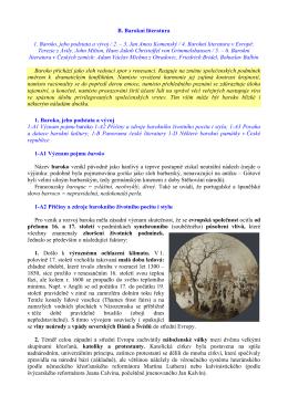 B. Barokní literatura 1. Baroko, jeho podstata a