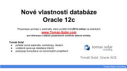 Novinky databáze Oracle 12c