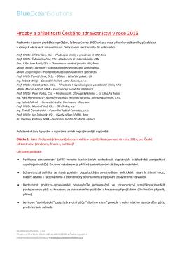 Hrozby a příležitosti Českého zdravotnictví v roce 2015 (8. 4. 2010