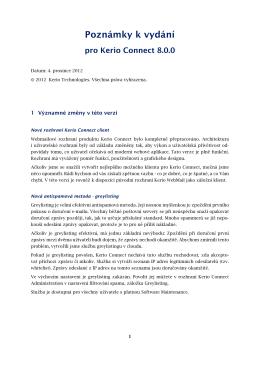 Poznámky k vydání - Kerio Software Archive