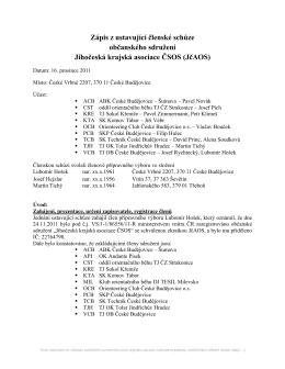 Zápis z ustavující členské schůze