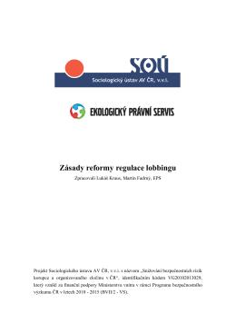 Zásady reformy regulace lobbingu