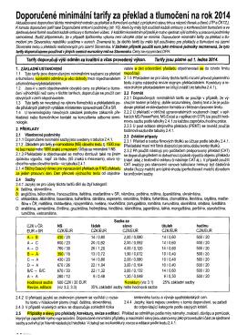 Doporučené tarify JTP