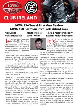 JAWA 250 Travel First Year Review JAWA 250 Cestovní První rok