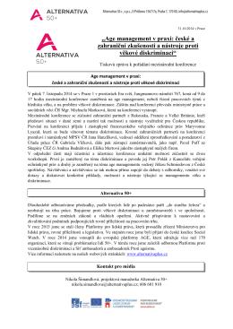Tisková zpráva: mezinárodní konference