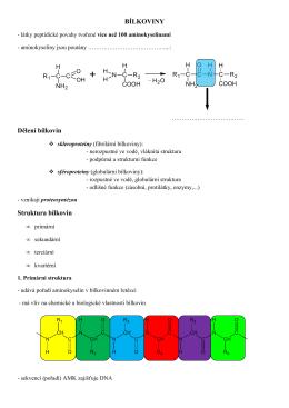 BÍLKOVINY Dělení bílkovin Struktura bílkovin