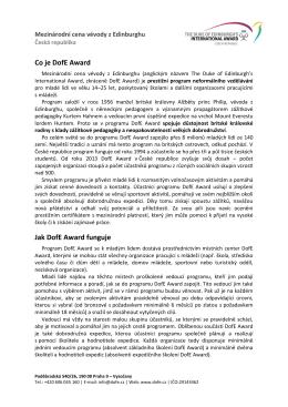 Program DofE – informační text pro školy