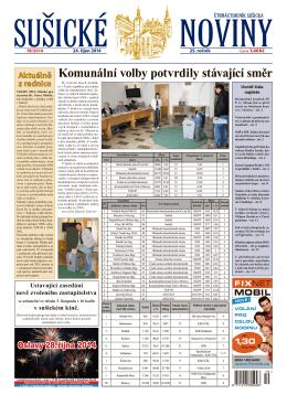 Komunální volby potvrdily stávající směr - sušické noviny
