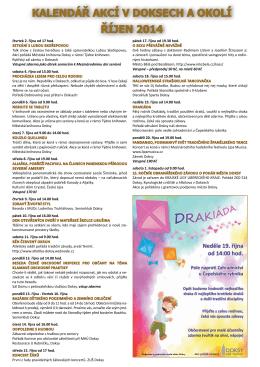 kalendář akcí v doksech a okolí říjen 2014