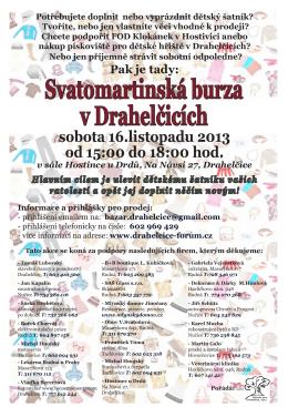 Svatomartinská burza v Drahelčicích