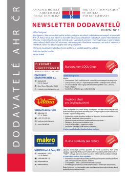 Newsletter dodavatelů duben 2012 - Asociace hotelů a restaurací ČR
