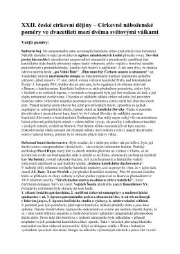 XXII. Církevně náboženské poměry ve dvacetiletí mezi dvěma