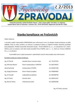 Fryčovický zpravodaj č.2 2013