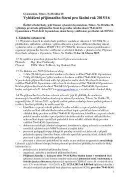 Vyhlášení příjímacího řízení 2015