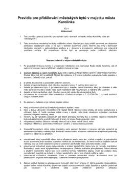Pravidla pro přidělování bytů v majetku města Prostějova