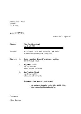 podání z 21.8.2014 (změna petitu, rozbor pasivní