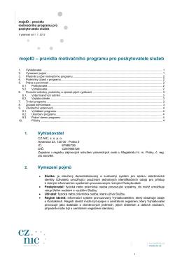 mojeID - motivační program podmínky