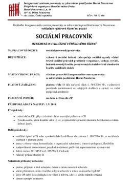 VŘ sociální pracovník 2014.pdf - Integrované centrum pro osoby se