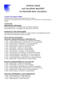 školní rok 2011/2012 - Základní umělecká škola Valašské Meziříčí
