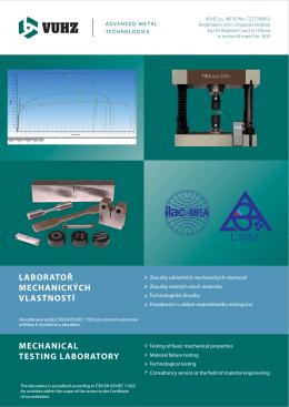 laboratoř mechanických vlastností mechanical testing