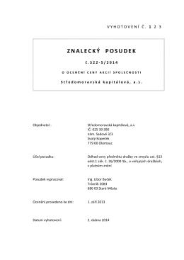 Znalecký posudek Středomoravská kapitálová, a.s.