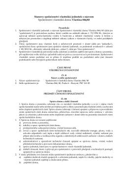 Návrh nového znění stanov SVJ
