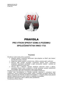 PRAVIDLA - Společenství Na Vinici 1733