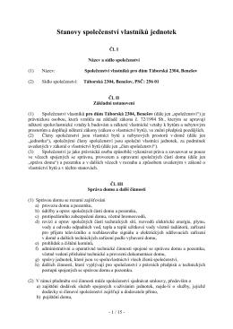 Stanovy společenství vlastníků jednotek - BENTI