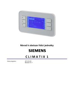 Návod k obsluze řídící jednotky CLIMATIX 1
