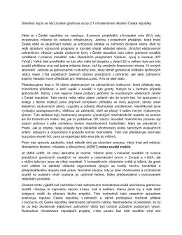 Otevřený dopis ve věci zrušení grantové výzvy 2.1 ministerstvem