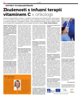 Zkušenosti s infuzní terapií vitaminem C v onkologii