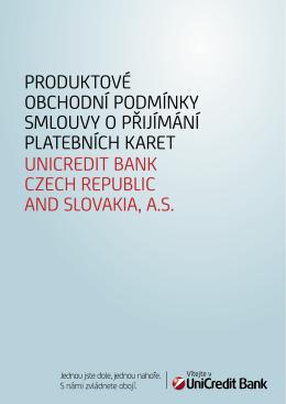 Produktové obchodní podmínky smlouvy o přijímání platebních karet