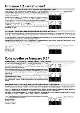 Co je nového ve firmwaru 5.2? Firmware 5.2