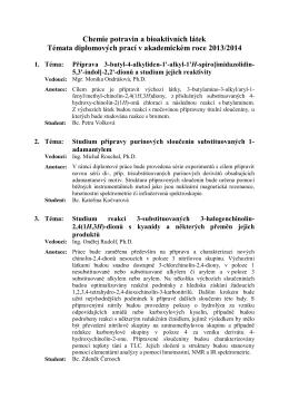 Chemie potravin a bioaktivních látek Témata diplomových prací v