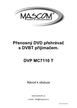 Přenosný DVD přehrávač s DVBT přijímačem. DVP MC7110 T