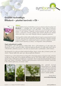 Ověření technologie Rhodovit – pěstitel borůvek v ČR –