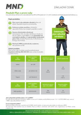 Ceník Plynu z první ruky platný do 31.12.2014 - PPD