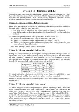 Cvičení 1–2 – formulace úloh LP