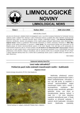 Limnologické noviny č. 2/2013 - Česká limnologická společnost