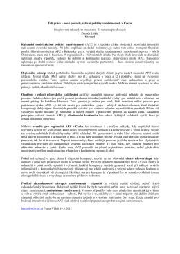 Trh práce – nové podněty aktivní politiky zaměstnanosti v Česku