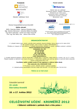 Pozvánka na seminář - Celoživotní učení Kroměříž