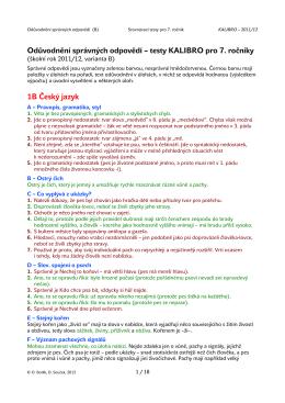 Odůvodnění správných odpovědí – testy KALIBRO pro 7. ročníky 1B
