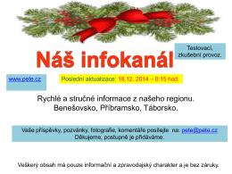 Rychlé a stručné informace z našeho regionu. Benešovsko