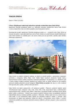 TISKOVÁ ZPRÁVA - Palác Ehrlich