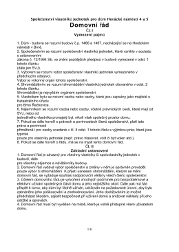 Domovní řád - SVJ a BD Horácké nám. 4 a 5
