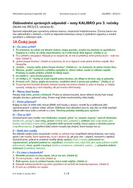Odůvodnění správných odpovědí – testy KALIBRO pro 3. ročníky 1A