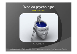 Úvod do psychologie - Katedra psychologie
