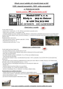 Obsah cenové nabídky při výstavbě domů na klíč UED - Modul-LEG